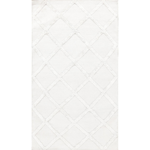 Kilim Hand Knotted Carpet Wool & Silk Trellis Indian Geometric Rug