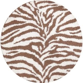 Zabra Turkish Shaggy Shag Carpet Animal Print Polyester & Jute Rug