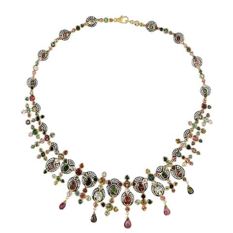 14k Gold 925 Sterling Silver Diamond Tourmaline Choker Necklace Gemstone Jewelry With Jewelry Box