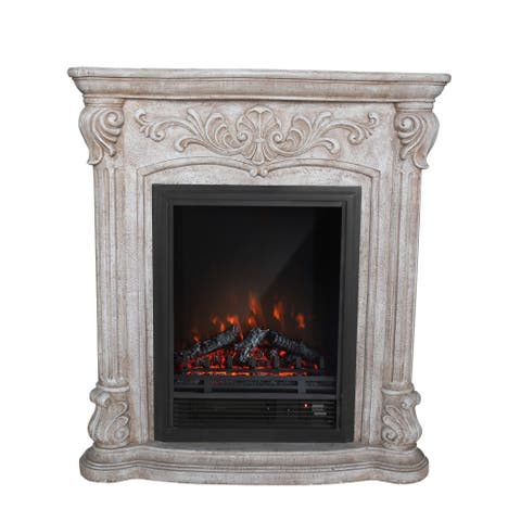 PolyStone Roma Electric Fireplace Heater Mantel with Remote