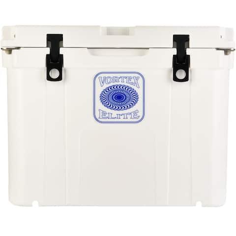 Vortex Elite Series 55-Quart Wheel-Kit Ready Rotational-Molded Customizable Cooler System in White