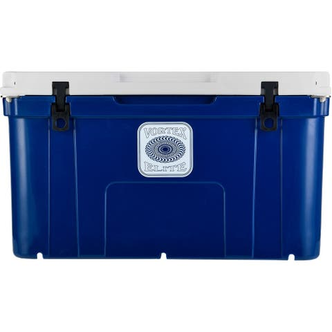Vortex Elite Series 78-Quart Wheel-Kit Ready Rotational-Molded Customizable Cooler System in Navy