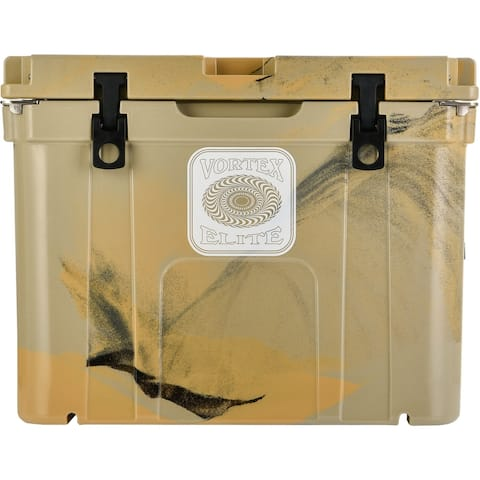 Vortex Elite Series 55-Quart Wheel-Kit Ready Rotational-Molded Customizable Cooler System in Tan