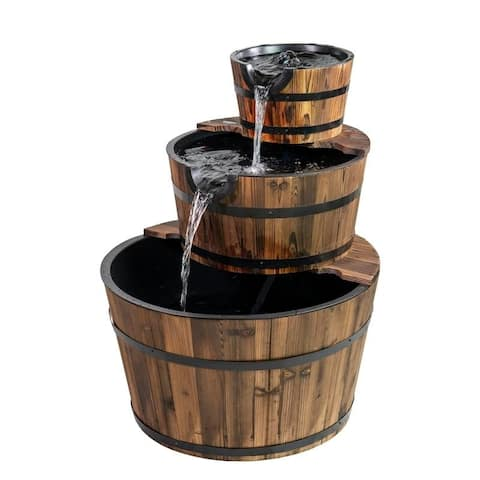 Boari 3-tiered Cascading Wood Barrels Fountain by Havenside Home
