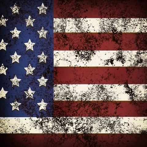 CANVAS Square American Rustic Flag by Dallas Drotz Graphic Art