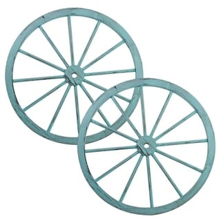 The Gray Barn Zephyr Grange Wooden Wagon Wheel with Antique Blue Finish (Set of 2)