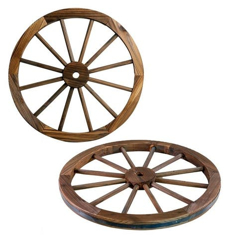 The Gray Barn Zephyr Grange Wooden Wagon Wheel with Rustic Finish (Set of 2)