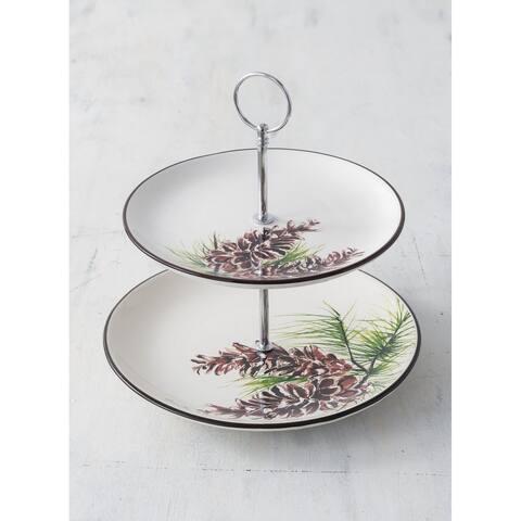 Cynthia Dunn Pinecone Two-Tier Tea Tray
