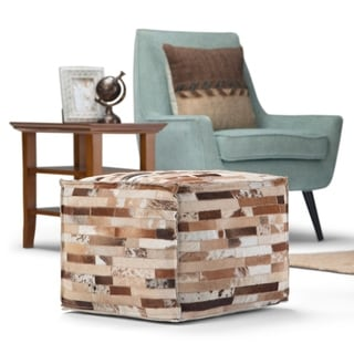 Link to WYNDENHALL Dermot Transitional Square Pouf Leather Similar Items in Living Room Furniture