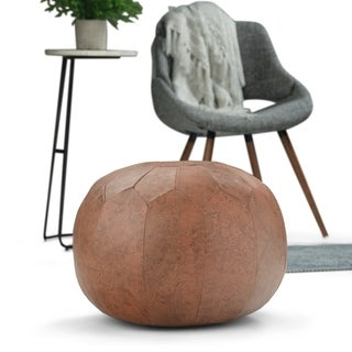 WYNDENHALL Rogen Transitional Round Pouf in Brown Patterened Leather