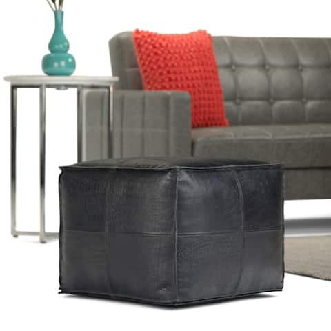 WYNDENHALL Dennie Contemporary Square Pouf in Black Genuine Leather