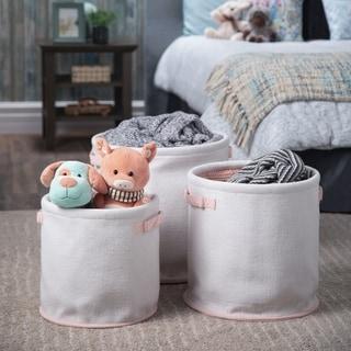 WYNDENHALL Codie Transitional 3 Pc Nesting Storage Basket Set in White, Pink Cotton - 16 inch wide