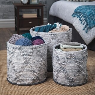WYNDENHALL Caprice Transitional 3 Pc Woven Nesting Storage Basket Set in Natural, Blue Woven Cotton - 16 inch wide