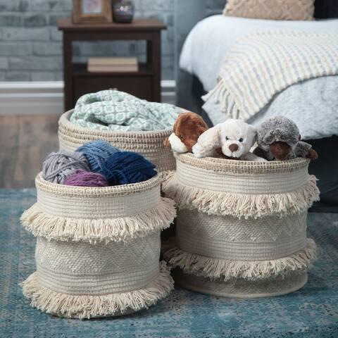 WYNDENHALL Ulyssa Transitional 3 Pc Nesting Storage Basket Set in Natural Fringe - 16 inch wide
