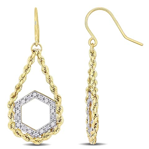 Miadora 2-Tone 10k White and Yellow Gold Geometric Dangle Earrings