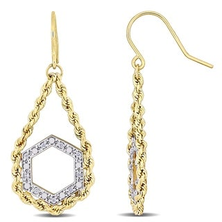 Link to Miadora 2-Tone 10k White and Yellow Gold Geometric Dangle Earrings Similar Items in Earrings