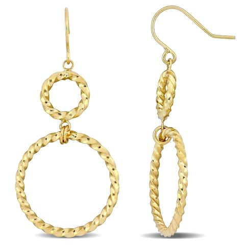 Miadora 14k Yellow Gold 2-Tier Twist Hoop Dangle Earrings