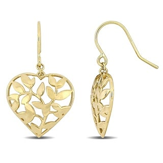 Link to Miadora 10k Yellow Gold Heart and Leaf Hook Earrings Similar Items in Earrings