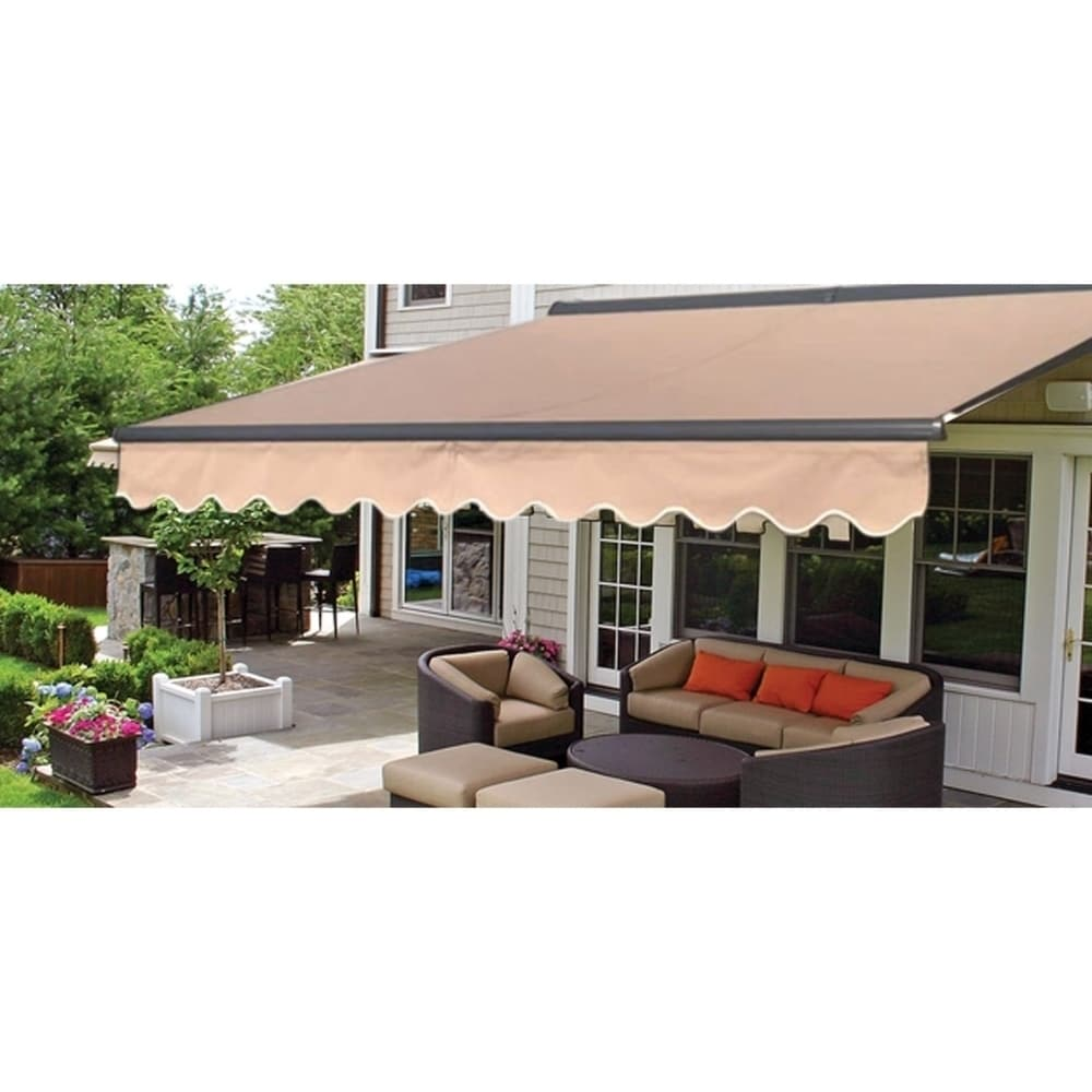 Aleko Motorized Half Cassette Retractable Patio Awning 12x10 Ft Sand Color Overstock 29118539