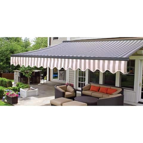 ALEKO Motorized Half Cassette Retractable Patio Awning 20x10 ft Grey White Color
