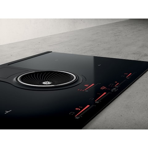 Elica 32In Induction Cooktop, 400 CFM Blower, Black Glass Touch - 32