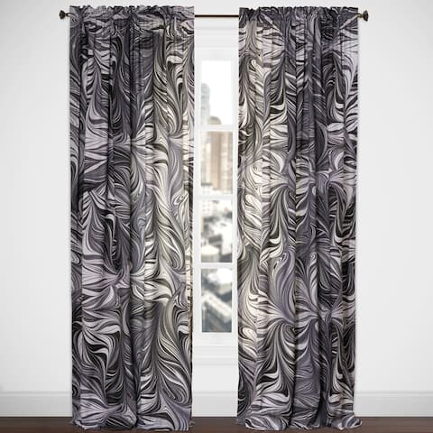 Art of Marbling Black Ash Single Rod Pocket Curtain Panel