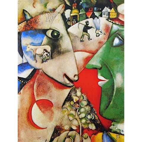 CANVAS I and the Village by Marc Chagall Art Painting Reproduction - 30 x 40