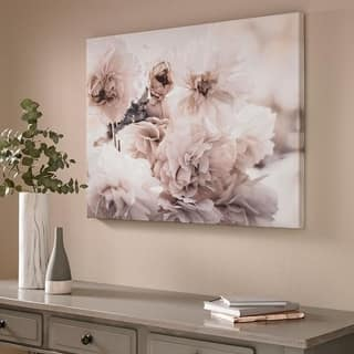 Tranquil Blossoms Printed Canvas Wall Art - CREAM