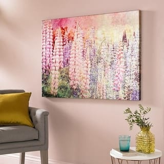 Bright Metallic Meadow Printed Canvas Wall Art.. - multi