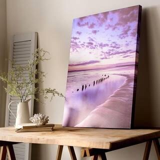 Metallic Serenity Shores Printed Canvas Wall Art - Blue