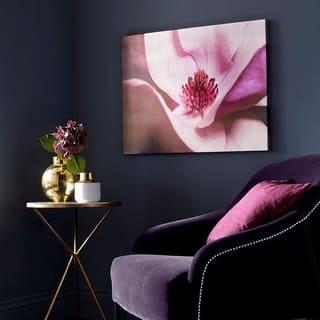 Metallic Plum Petals Printed Canvas Wall Art - Purple