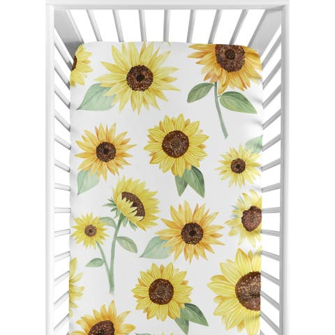 Sweet Jojo Designs Yellow, Green and White Boho Floral Sunflower Collection Girl Fitted Crib Sheet - Farmhouse Watercolor Flower