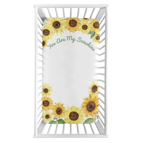 Sweet Jojo Designs Yellow Green Boho Floral Sunflower Girl Fitted Crib Sheet - Farmhouse Watercolor Flower, You Are My Sunshine