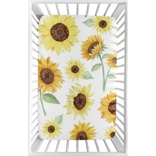 Yellow Green Boho Floral Sunflower Baby Girl Fitted Mini Portable Sheet For Mini Crib or Pack and Play - Farmhouse Watercolor