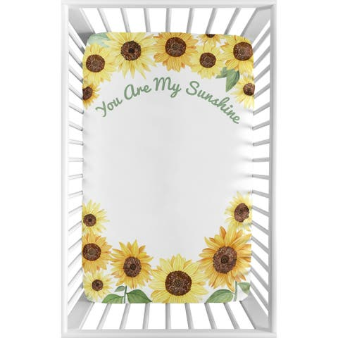 Yellow Green Boho Floral Sunflower Baby Girl Fitted Mini Portable Sheet For Mini Crib or Pack and Play - You Are My Sunshine