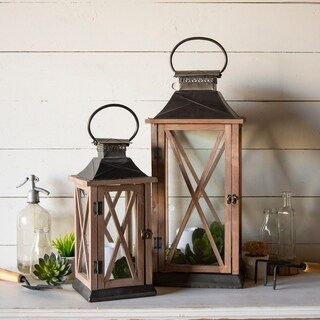 Wooden/Metal lantern (Set/2)
