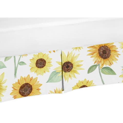 Sweet Jojo Designs Yellow, Green and White Boho Floral Sunflower Collection Girl Crib Bed Skirt - Farmhouse Watercolor Flower