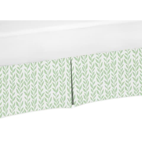 Sweet Jojo Designs Green and White Leaf Floral Collection Girl Crib Bed Skirt - Boho Farmhouse Sunflower Collection