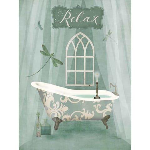 CANVAS Vintage Bathroom Inspired Relax Green Bathtub by Beth Albert Graphic Art Print