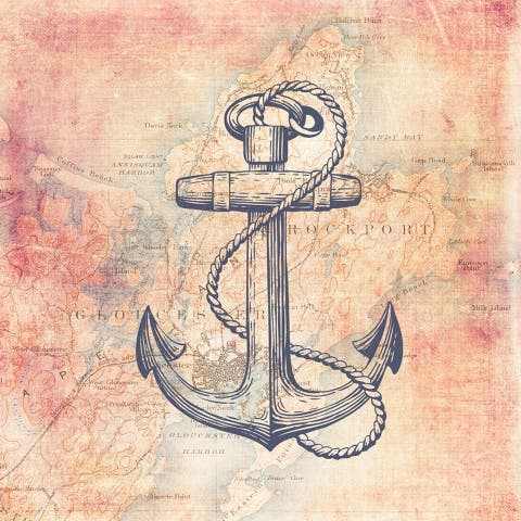 CANVAS Traveling Maps and Anchor by Brandi Fitzgerald Graphic Art - 36x36