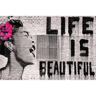 CANVAS Life Is Beautiful by Banksy  Graphic Art Print - 48x32