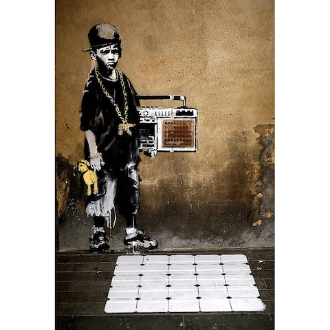 CANVAS Gip Hop Youth with Boom Box by Banksy Art Painting Reproduction