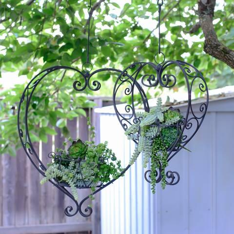 Metal heart planters (Set/2)
