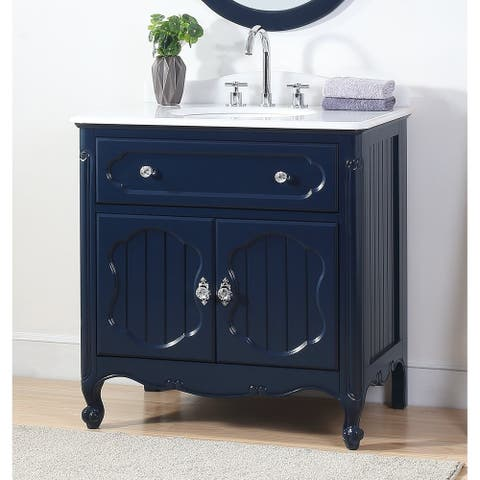 "34"" Benton Collection Knoxville Victorian Navy Blue Bathroom Vanity"