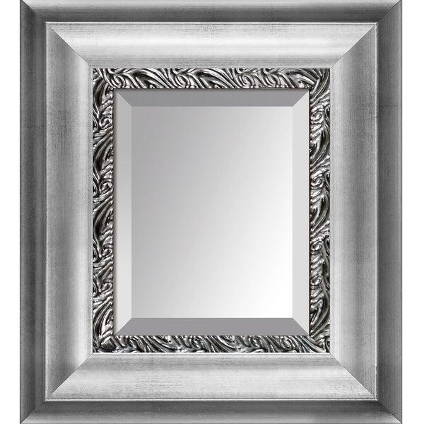 overstockArt Athenian Silver Wave Custom Stacked Frame Mirror