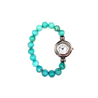 Natural Stone Stretch Band Watches Round Silver Case