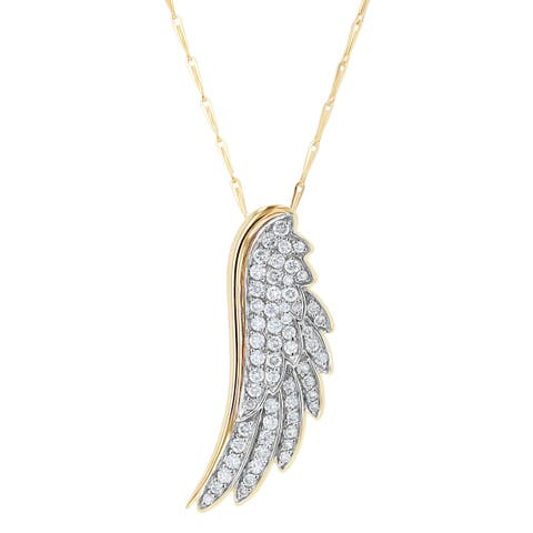 14k Yellow Gold 1/2ct. TDW Diamond Wing Necklace by Beverly Hills Charm