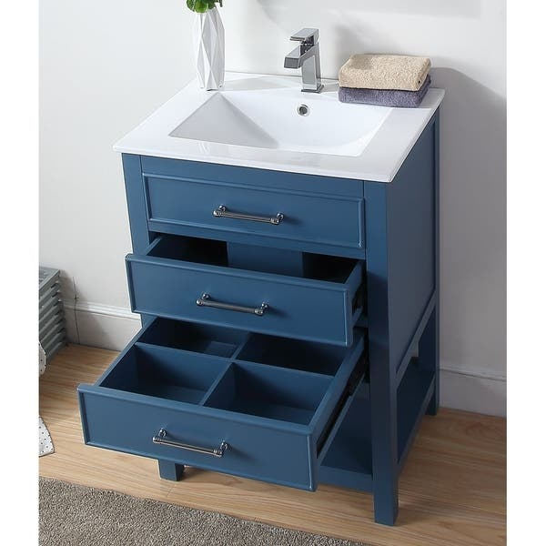 Small Slim Teal Blue Bathroom Vanity