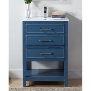 "24"" Tennant Brand Aruzza Small Slim Teal Blue Bathroom Vanity"
