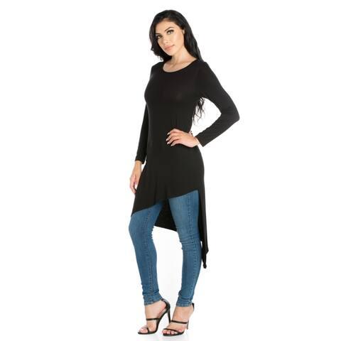 24seven Comfort Apparel Long Sleeve Knee Length Asymmetrical Tunic Top